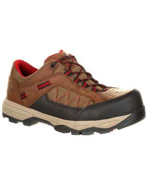 Rocky Men's Endeavor Point Work Shoes - Safety Toe, Dark Brown, hi-res