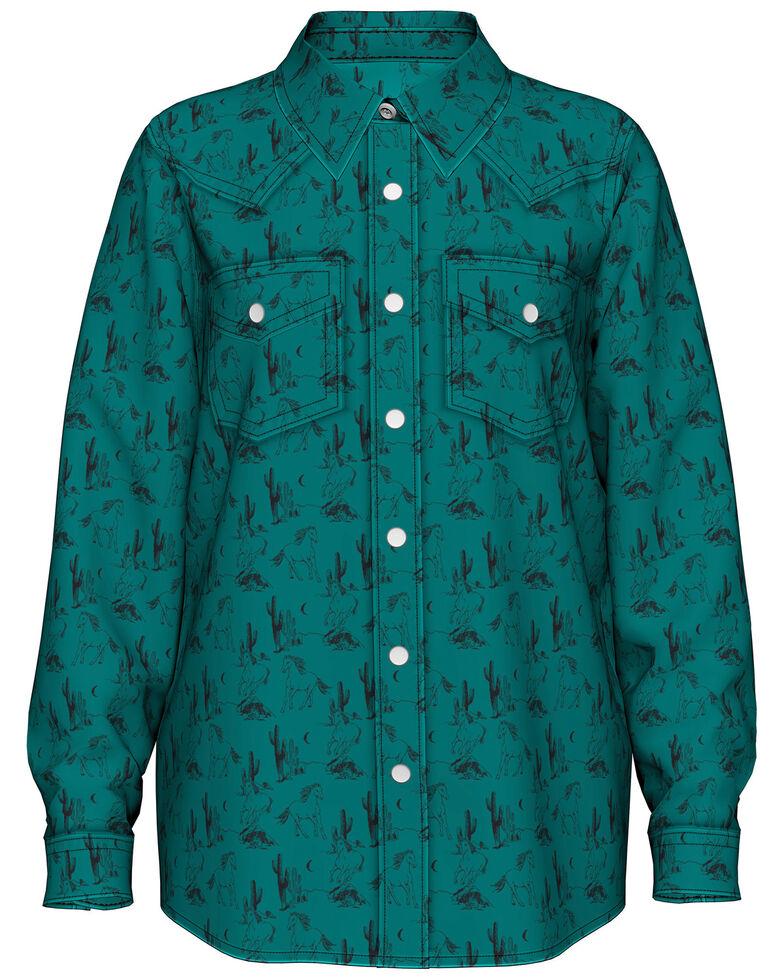 Wrangler Girls' Turquoise Horse Print Long Sleeve Western Shirt , Turquoise, hi-res