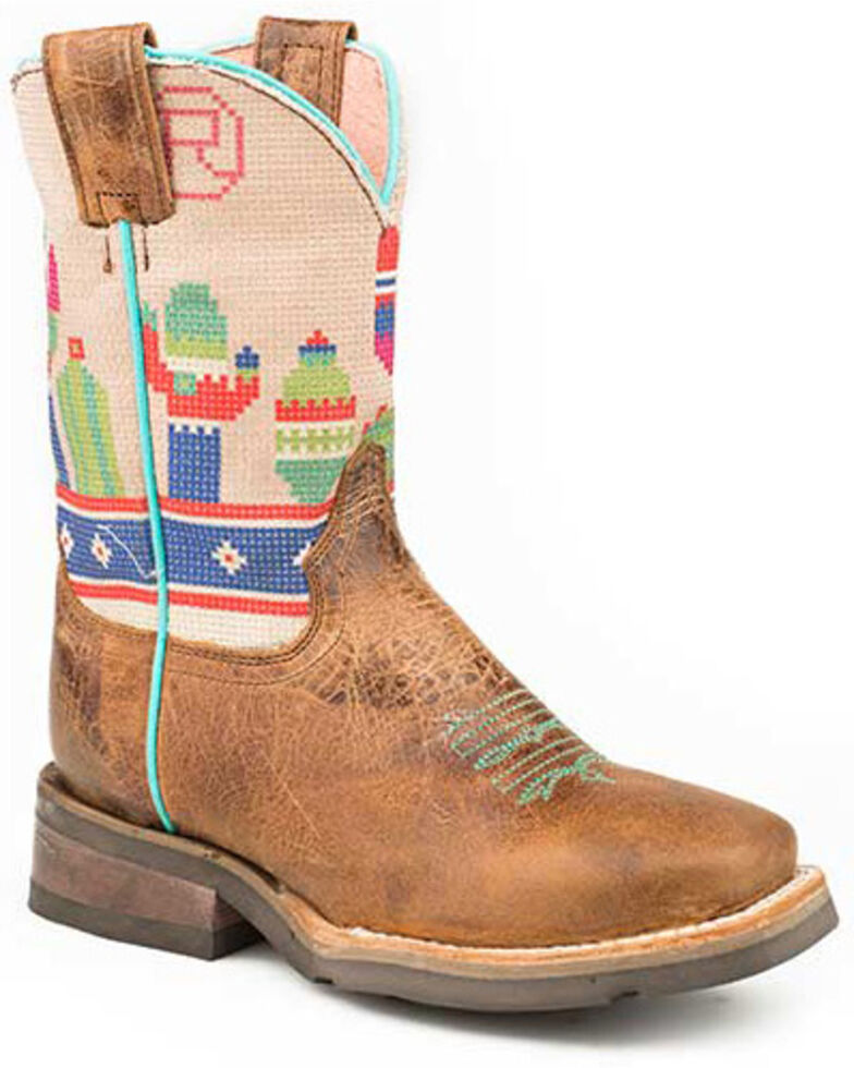 Roper Boys' Waxy Brown Cactus Western Boots - Square Toe, Blue, hi-res