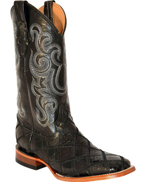 Ferrini Men's Patchwork Gator Ostrich Cowboy Boots - Square Toe, Black, hi-res