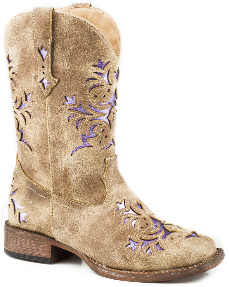Roper Girls' Lola Tan Metallic Underlay Cowgirl Boots - Square Toe, Tan, hi-res