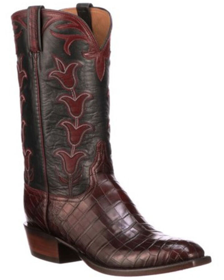 Lucchese Men's Brown Tulip Western Boots - Square Toe, Brown, hi-res