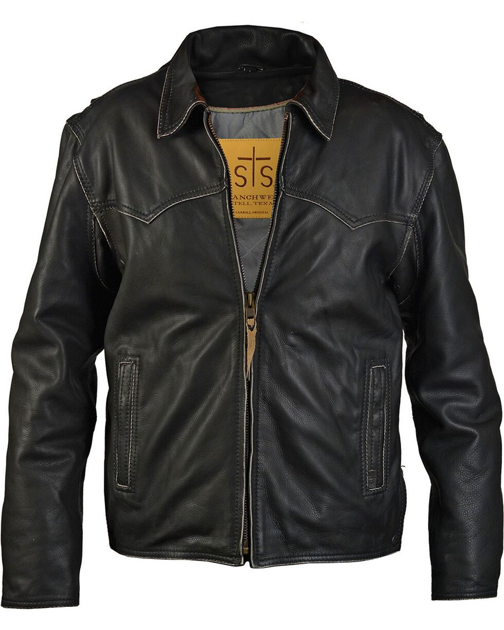 STS Ranchwear Men's Vegas Black Leather Jacket, Black, hi-res
