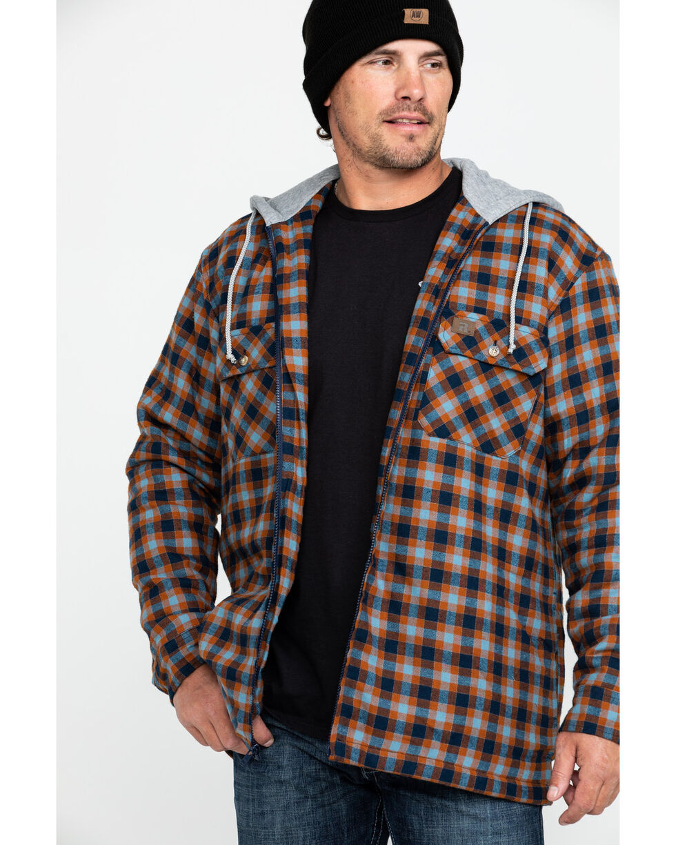 Wrangler Men's Plaid Hooded Quilted Flannel Jacket, Rust Copper, hi-res