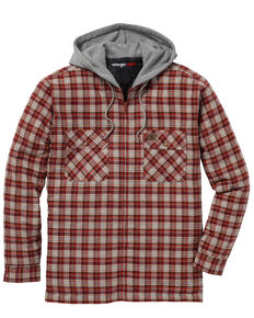 Wrangler Men's Plaid Hooded Quilted Flannel Jacket - Big & Tall, Rust Copper, hi-res