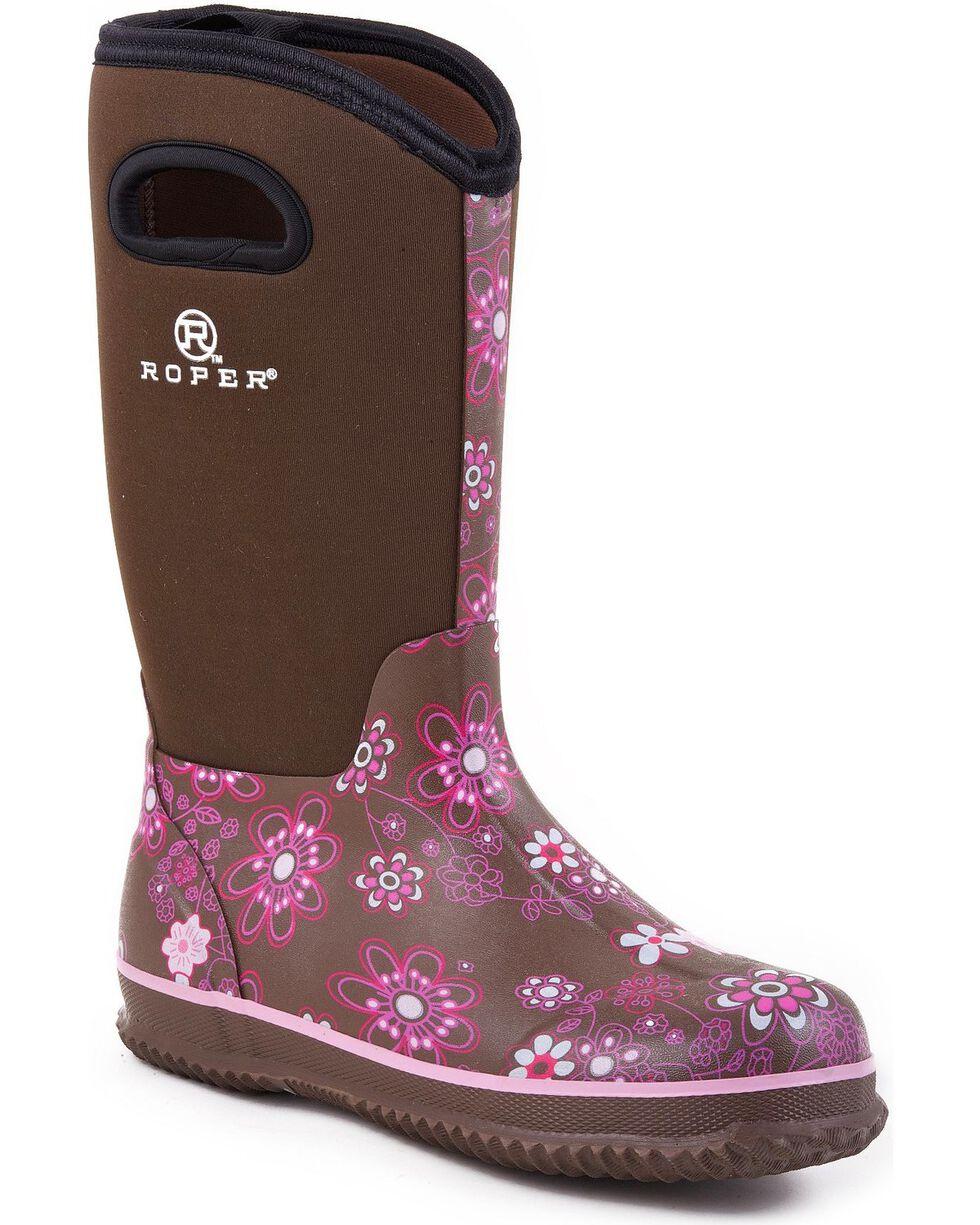 Roper Women's Neoprene Barnyard Work Boots, Brown, hi-res