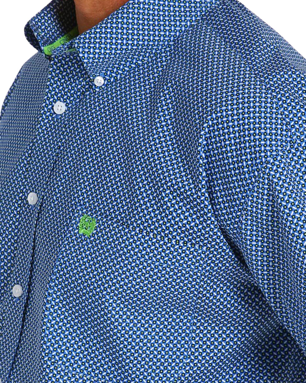 Cinch Men's Royal Blue Plain Weave Print Short Sleeve Button Down Shirt, Royal Blue, hi-res