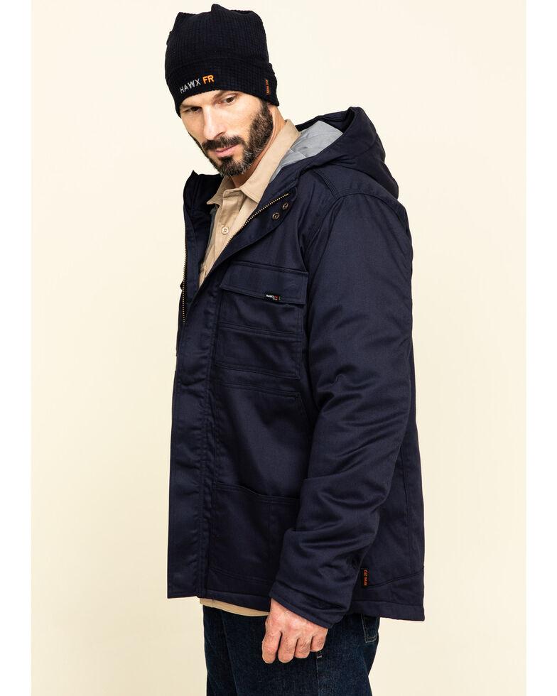 Hawx Men's Navy FR Duck Hooded Work Jacket - Tall , Navy, hi-res
