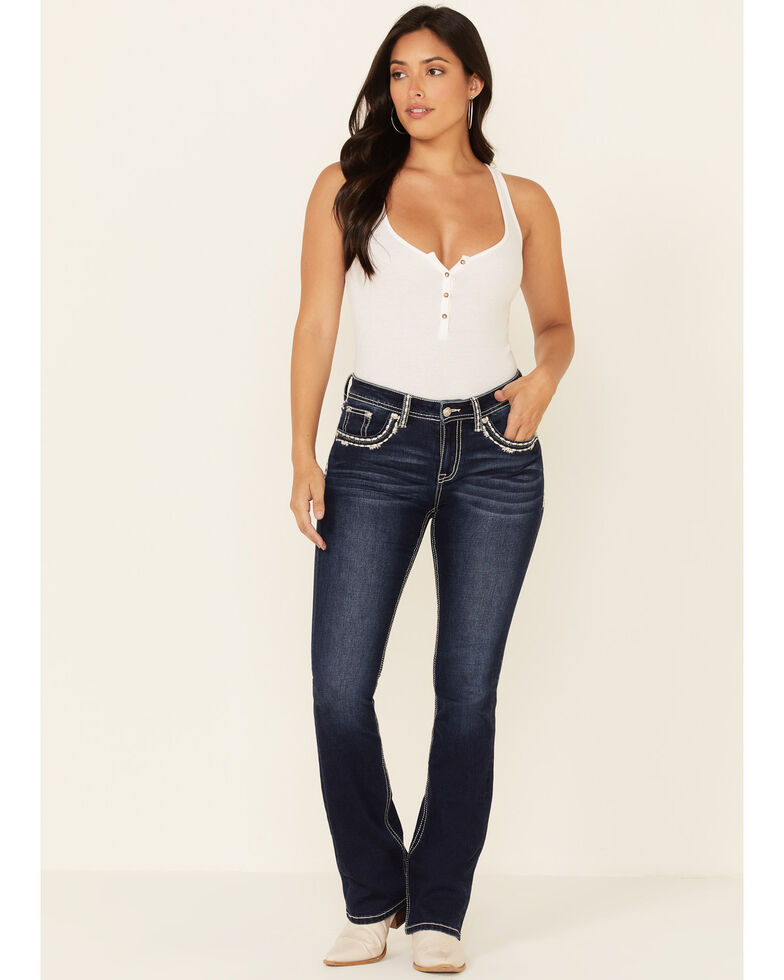 Grace in LA Women's Faded Feather Border Bootcut Jeans, Blue, hi-res