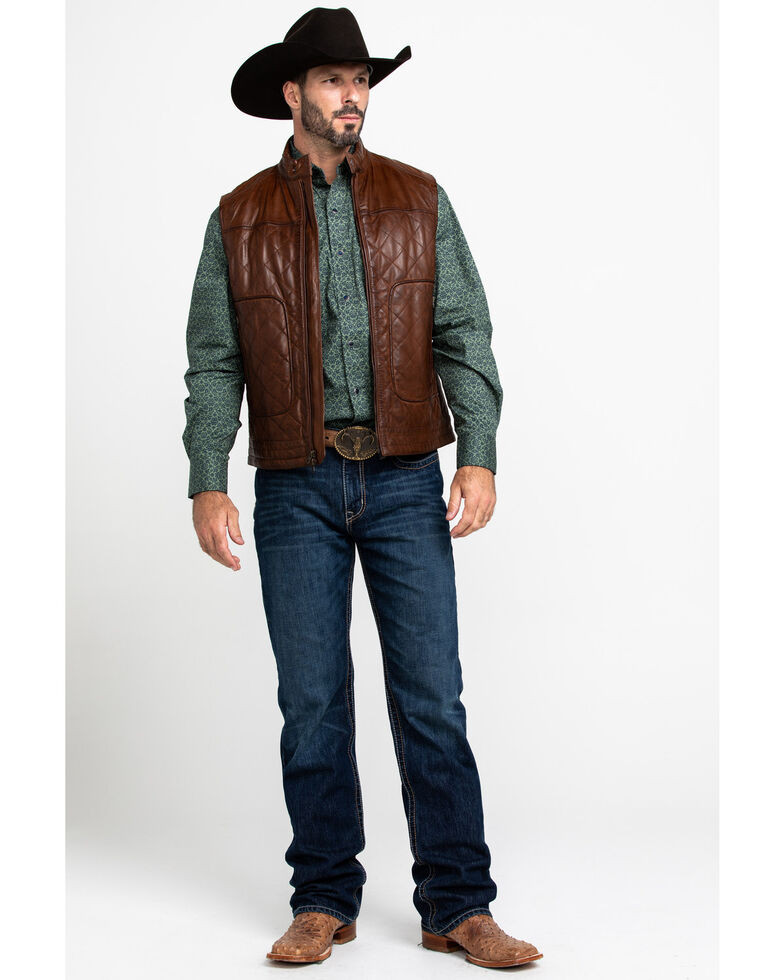 Scully Leatherwear Men's Quilted Leather Vest , Brown, hi-res