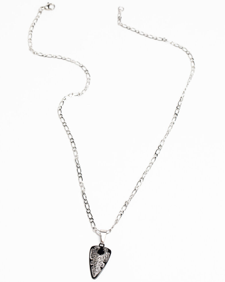 Moonshine Spirit Men's Gunmental Silver Arrow Necklace, Silver, hi-res