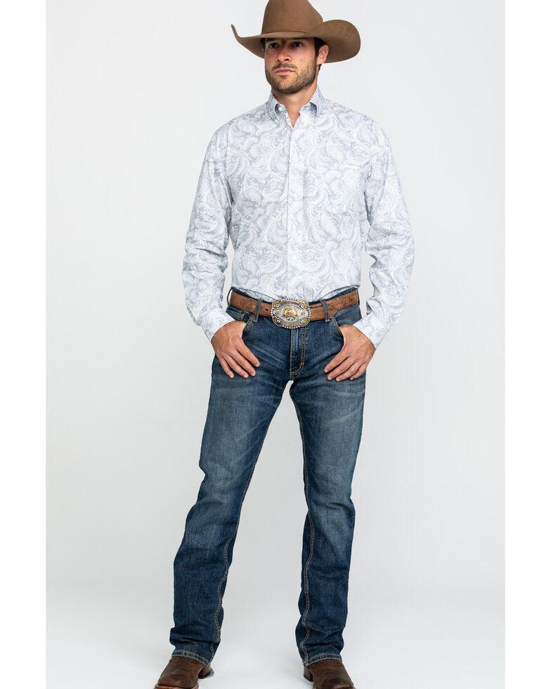 Stetson Men's Sage Ombre Plaid Button Long Sleeve Western Shirt , Grey, hi-res