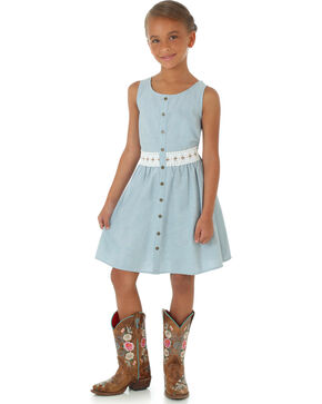 Wrangler Girls' Button Down Crochet Dress, Blue, hi-res