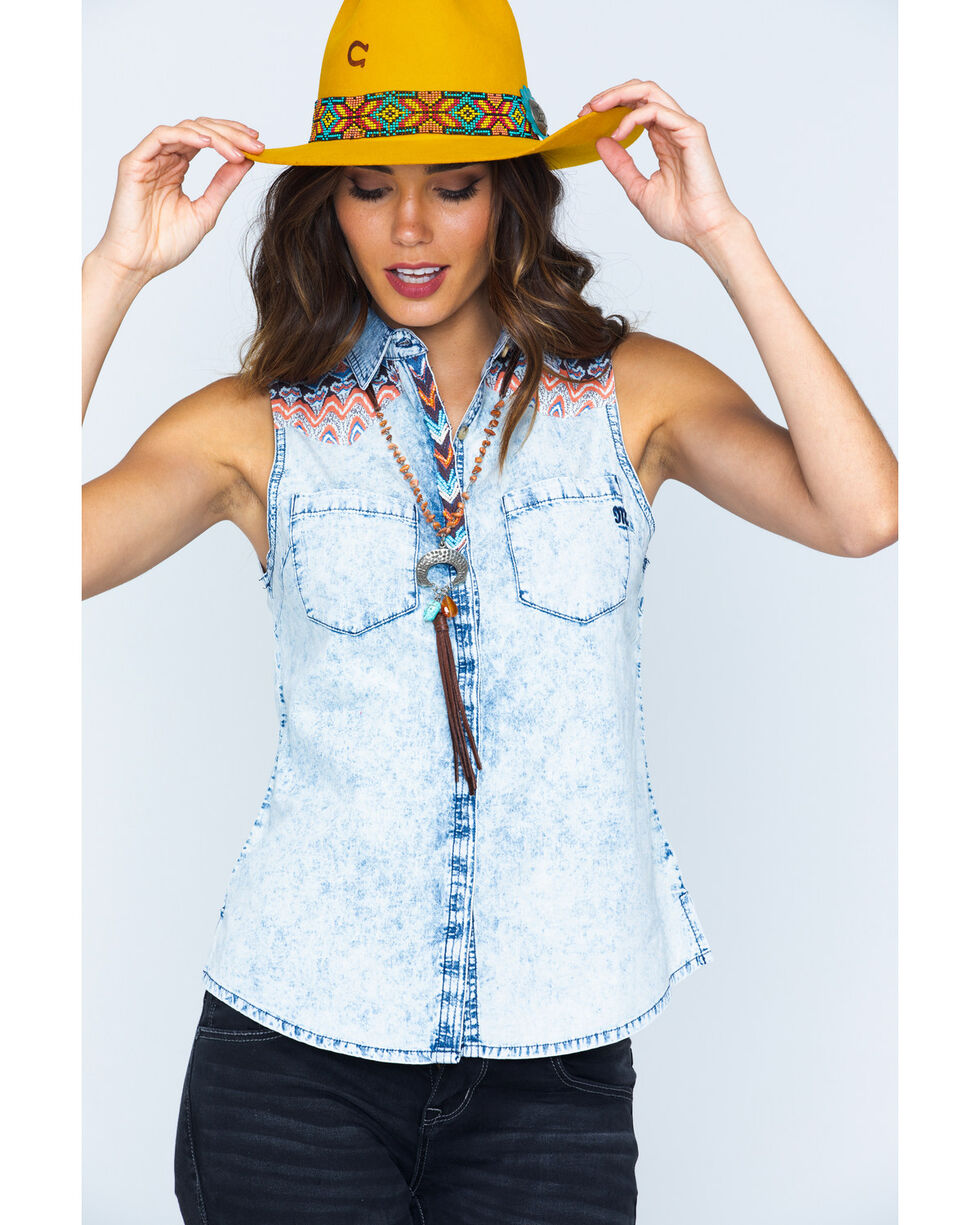Miss Me Women's Sleeveless Contrast Yoke Western Shirt, Denim, hi-res