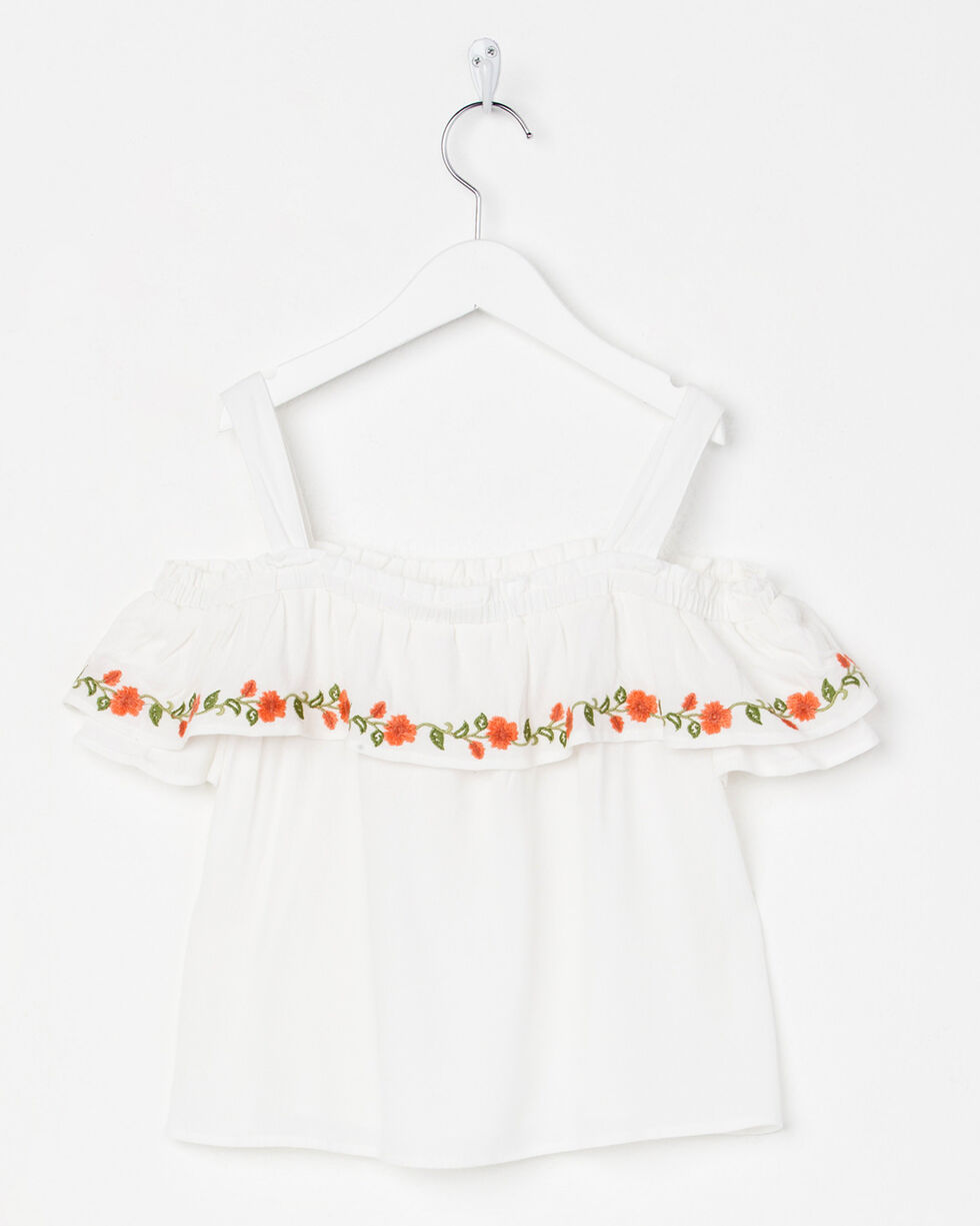 Miss Me Girls' Floral Bliss Off-The-Shoulder Top , White, hi-res