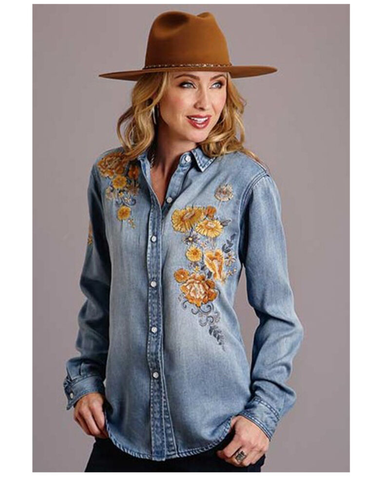 Stetson Women's Light Wash Floral Embroidered Denim Long Sleeve Western Shirt, Blue, hi-res