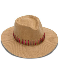 Nikki Beach Women's Brown Raine Panama Fedora Straw Hat , Brown, hi-res