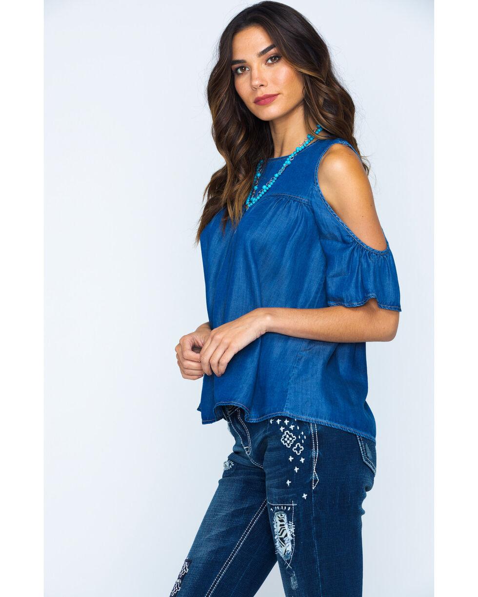 Glam Women's Cold Shoulder Top , Indigo, hi-res