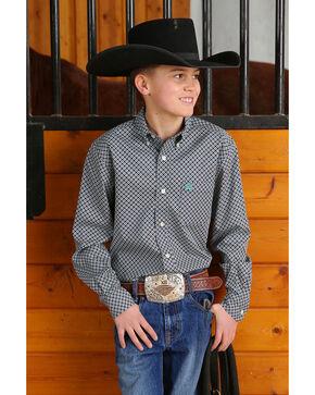 Cinch Boys' Wine Geo Print Long Sleeve Western Shirt , Wine, hi-res