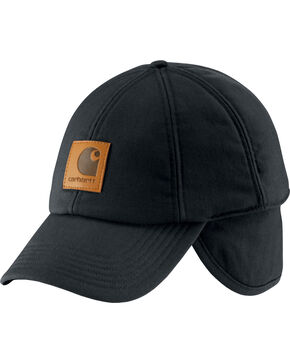 Carhartt Men's WorkFlex Ear Flap Cap, Black, hi-res