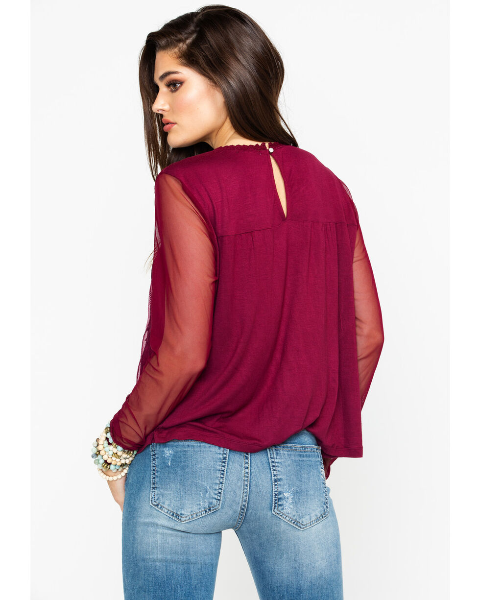 Eyeshadow Women's Lace Front Long Sleeve Top, Burgundy, hi-res