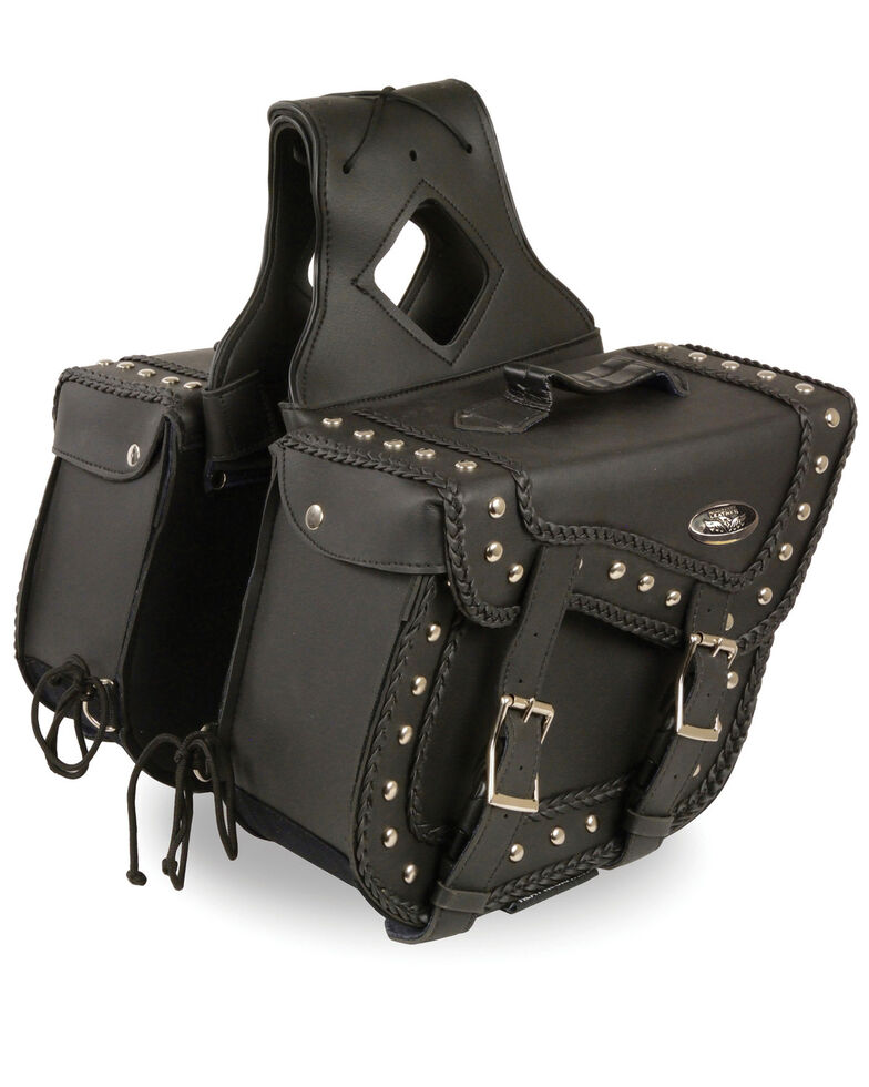 Milwaukee Leather Medium Braided Zip-Off PVC Throw Over Saddle Bag with Studs, Black, hi-res