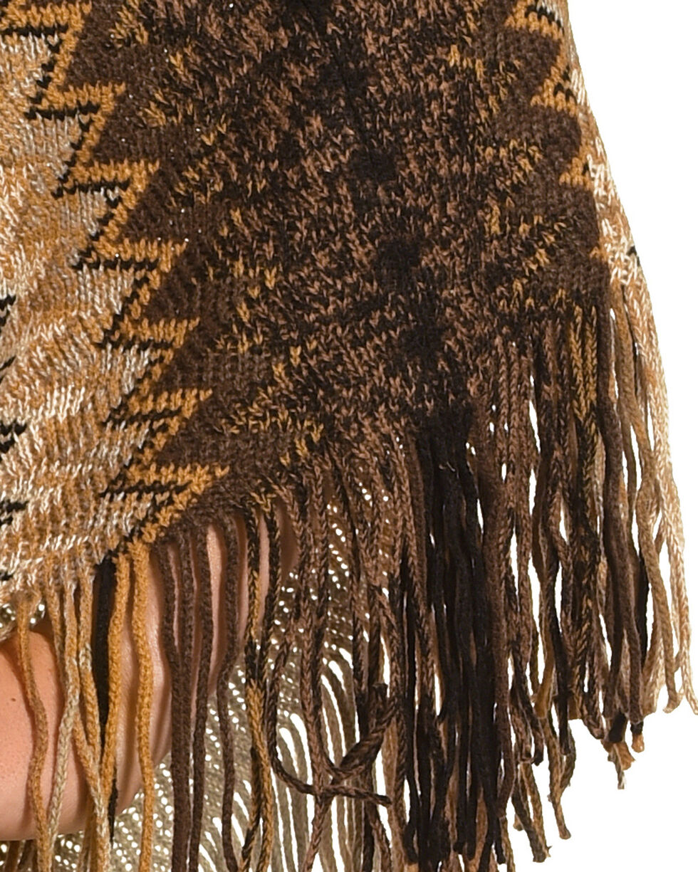 Ryan Michael Women's Saffron Zig-Zag Shawl , Brown, hi-res
