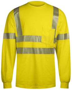 National Safety Apparel Men's FR Vizable Hi-Vis Pocket Long Sleeve Work T-Shirt - Tall , Bright Yellow, hi-res