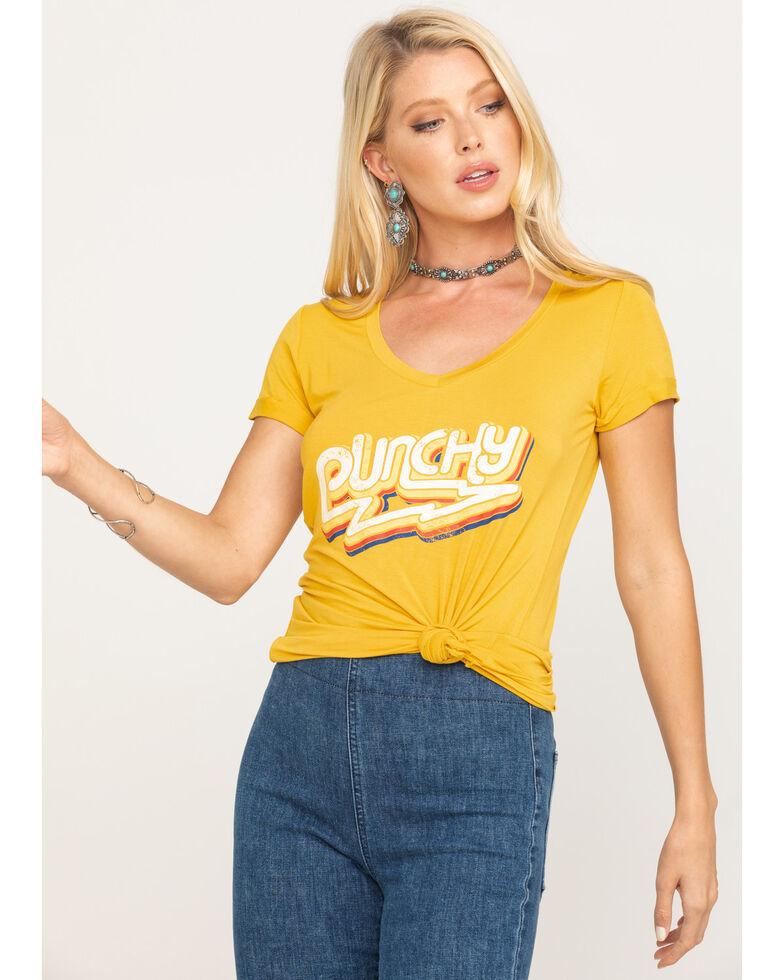 Rock & Roll Denim Women's Mustard V-Neck Punchy Graphic Tee, Dark Yellow, hi-res