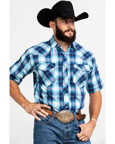 Resistol Men's Saguaro Ombre Med Plaid Short Sleeve Western Shirt , Blue, hi-res