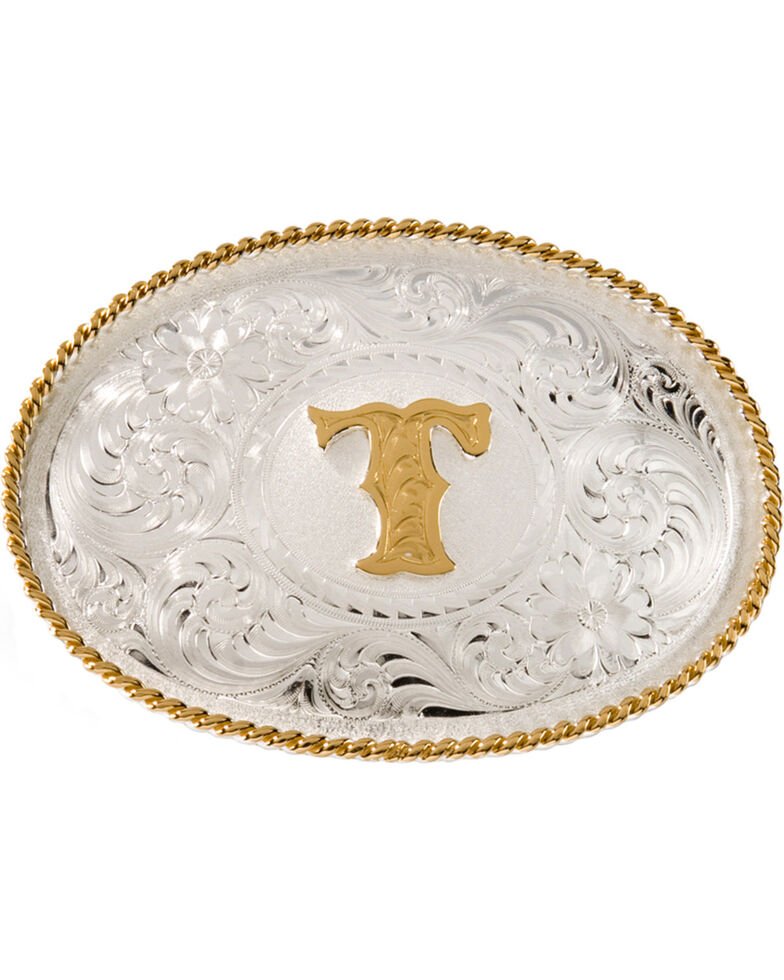 Montana Silversmiths Initial T Western Buckle, Silver, hi-res