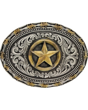 Montana Silversmiths Men's Lone Star Attitude Buckle, Multi, hi-res