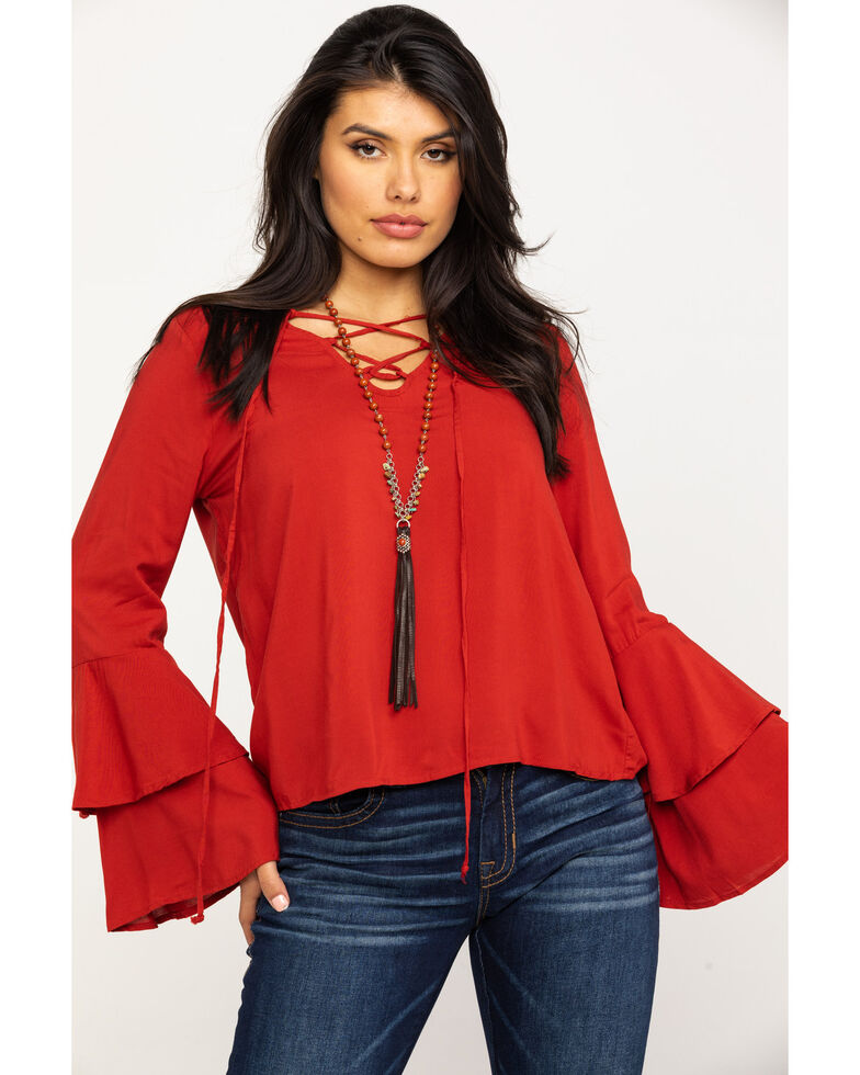 Red Label by Panhandle Women's Double Flare Tie-Up Shirt, Rust Copper, hi-res