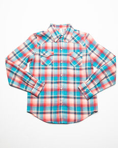 Roper Girls' Desert Sunrise Plaid Long Sleeve Western Shirt , Red, hi-res