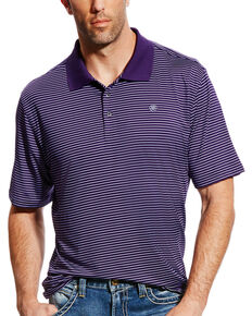 Ariat Men's AriatTEK Mini Stripe Performance Stretch Polo, Purple, hi-res