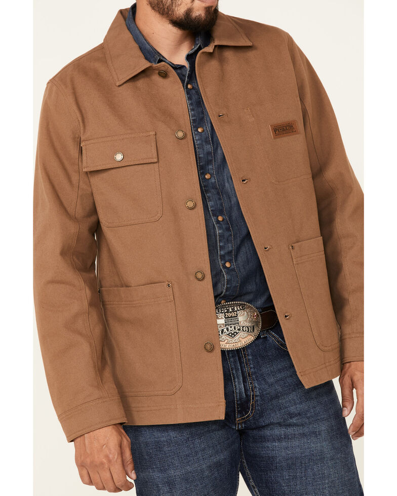 Pendleton Men's Mineral Brown Mills Canvas Chore Jacket , Brown, hi-res