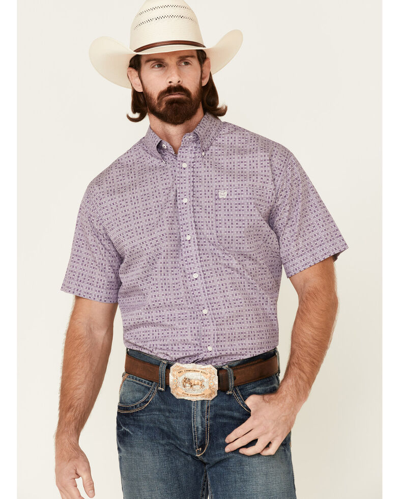 Cinch Men's Purple Basket Weave Print Short Sleeve Western Shirt , Purple, hi-res