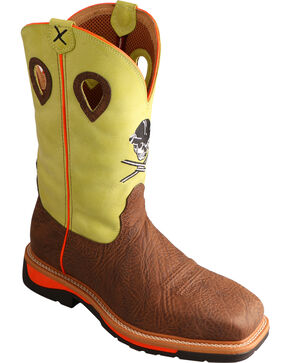 Twisted Neon Yellow Skull Lite Cowboy Work Boots - Steel Toe , Crazyhorse, hi-res
