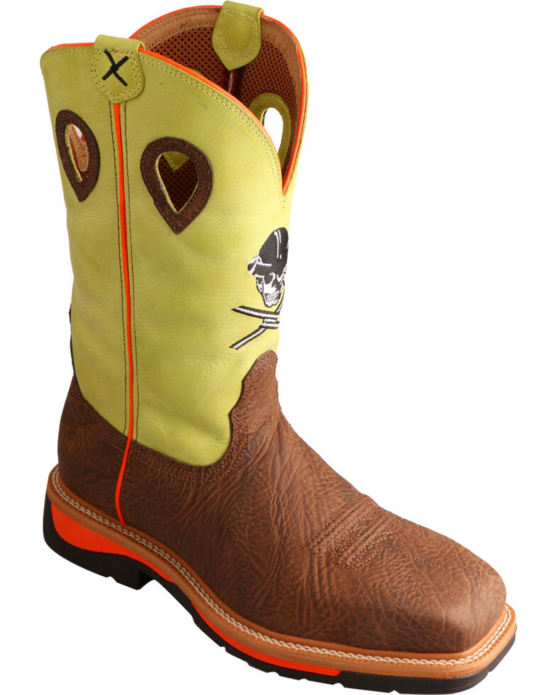 Twisted X Men's Neon Yellow Skull Lite Cowboy Work Boots - Steel Toe , Crazyhorse, hi-res