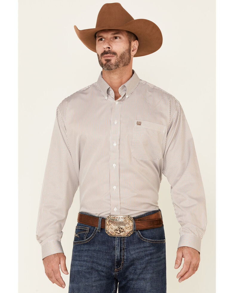 Cinch Men's Beige Tencel Stripe Long Sleeve Button-Down Western Shirt , Beige/khaki, hi-res