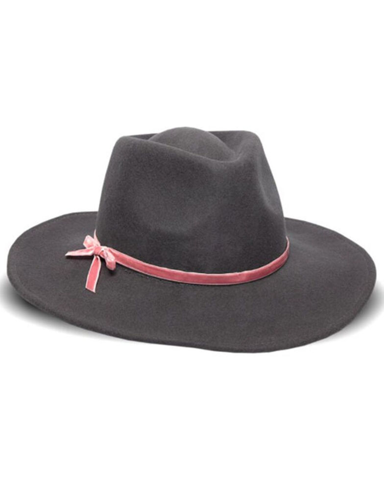 Nikki Beach Women's Riley Velvet Bow Band Wool Felt Western Hat, Mauve, hi-res