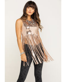 Chrysanthemum Women's Black Fringe Sequin Crop Top, Rose, hi-res