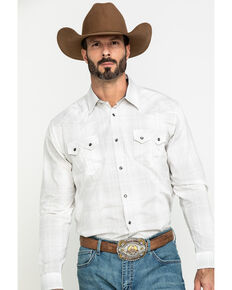 Cody James Men's Snowfall Large Plaid Long Sleeve Western Shirt , White, hi-res