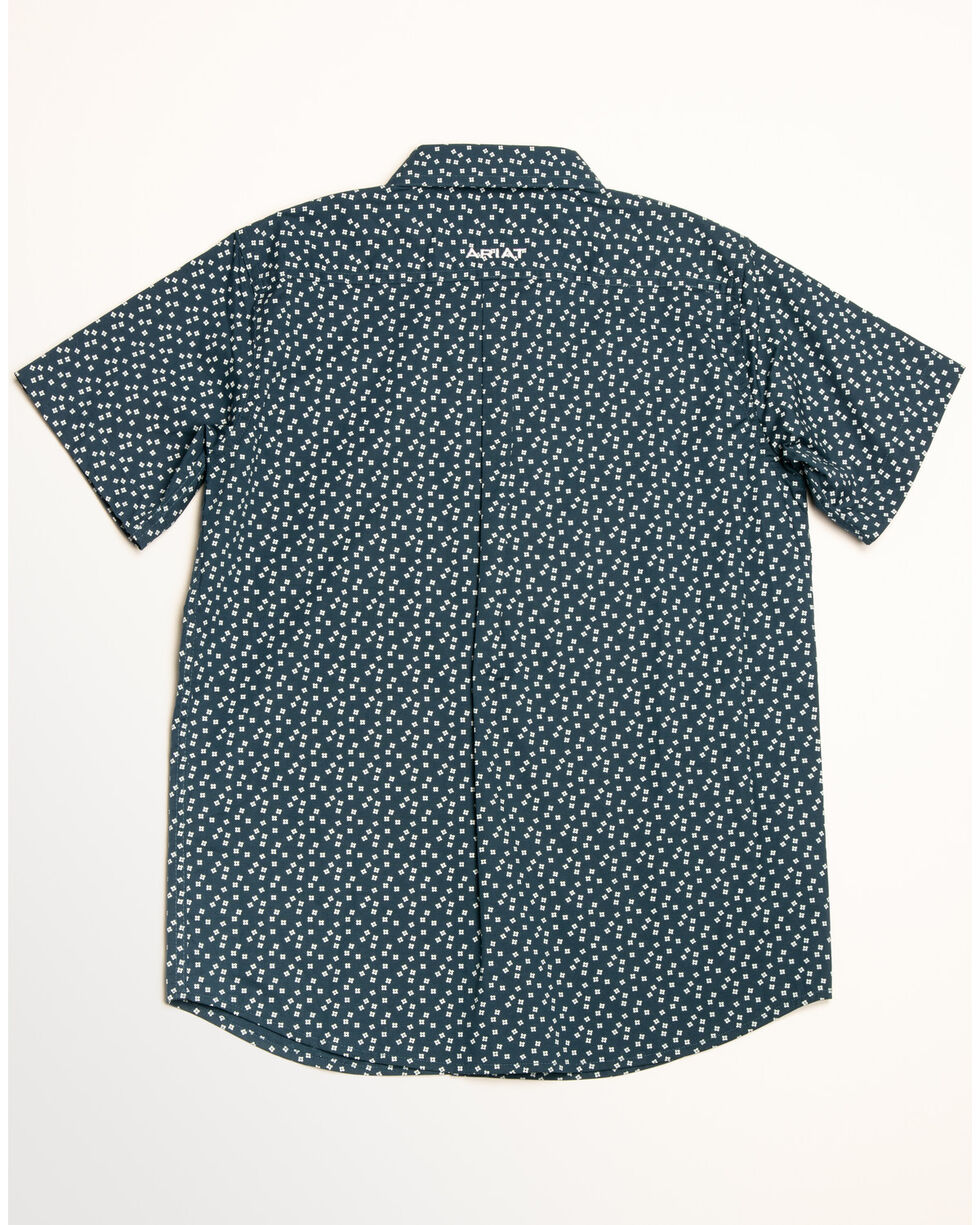 Ariat Boys' Hatchell Stretch Geo Print Short Sleeve Western Shirt , Blue, hi-res