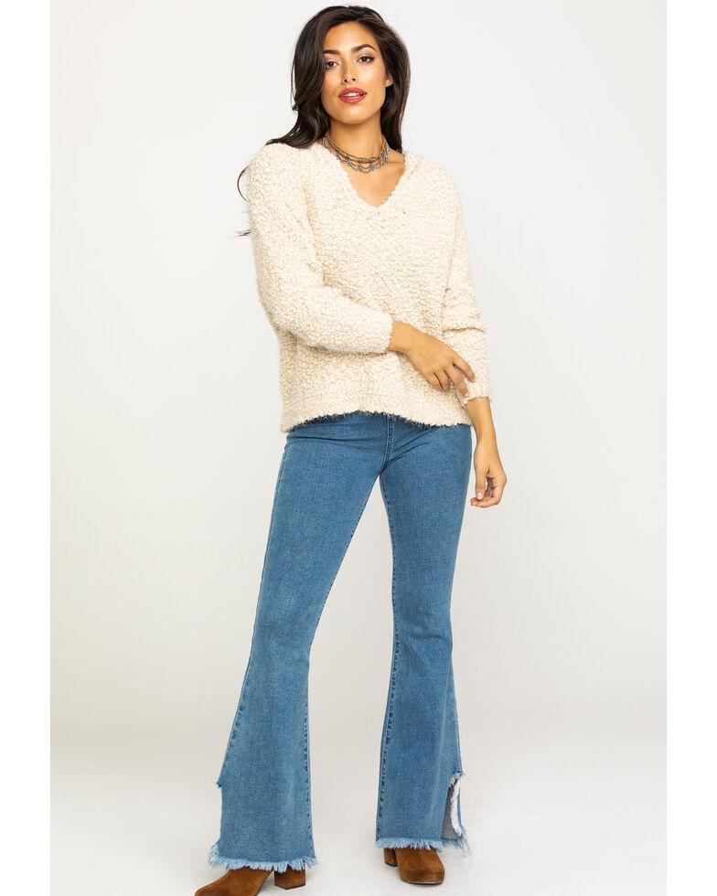 Elan Women's Cream Textured Knit Hoodie Pullover, Cream, hi-res