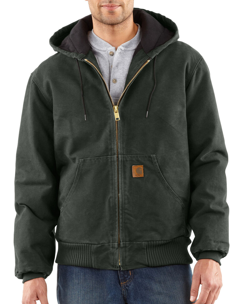 Carhartt Men's Sandstone Active Quilted Flannel Lined Jacket, Moss, hi-res