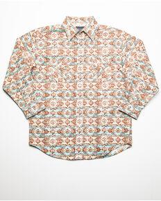 Rough Stock By Panhandle Boys' Gerona Vintage Aztec Print Long Sleeve Western Shirt , Brown, hi-res