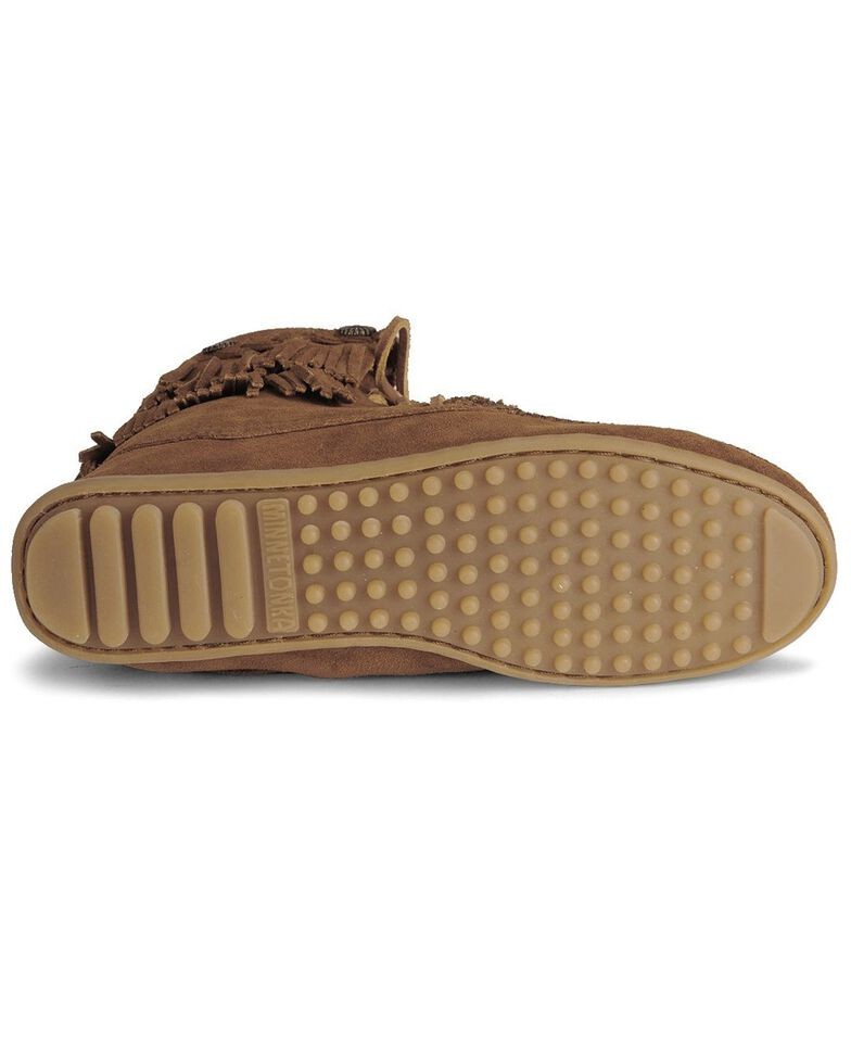 Minnetonka Double Fringe Tramper Moccasin, Brown, hi-res
