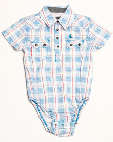 Cody James Infant Boys' Crooks Cross Plaid Short Sleeve Onesie, White, hi-res