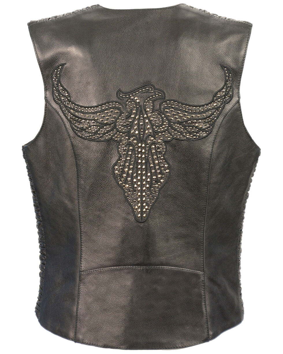 Milwaukee Leather Women's Phoenix Stud Embroidered Snap Front Vest, Black, hi-res